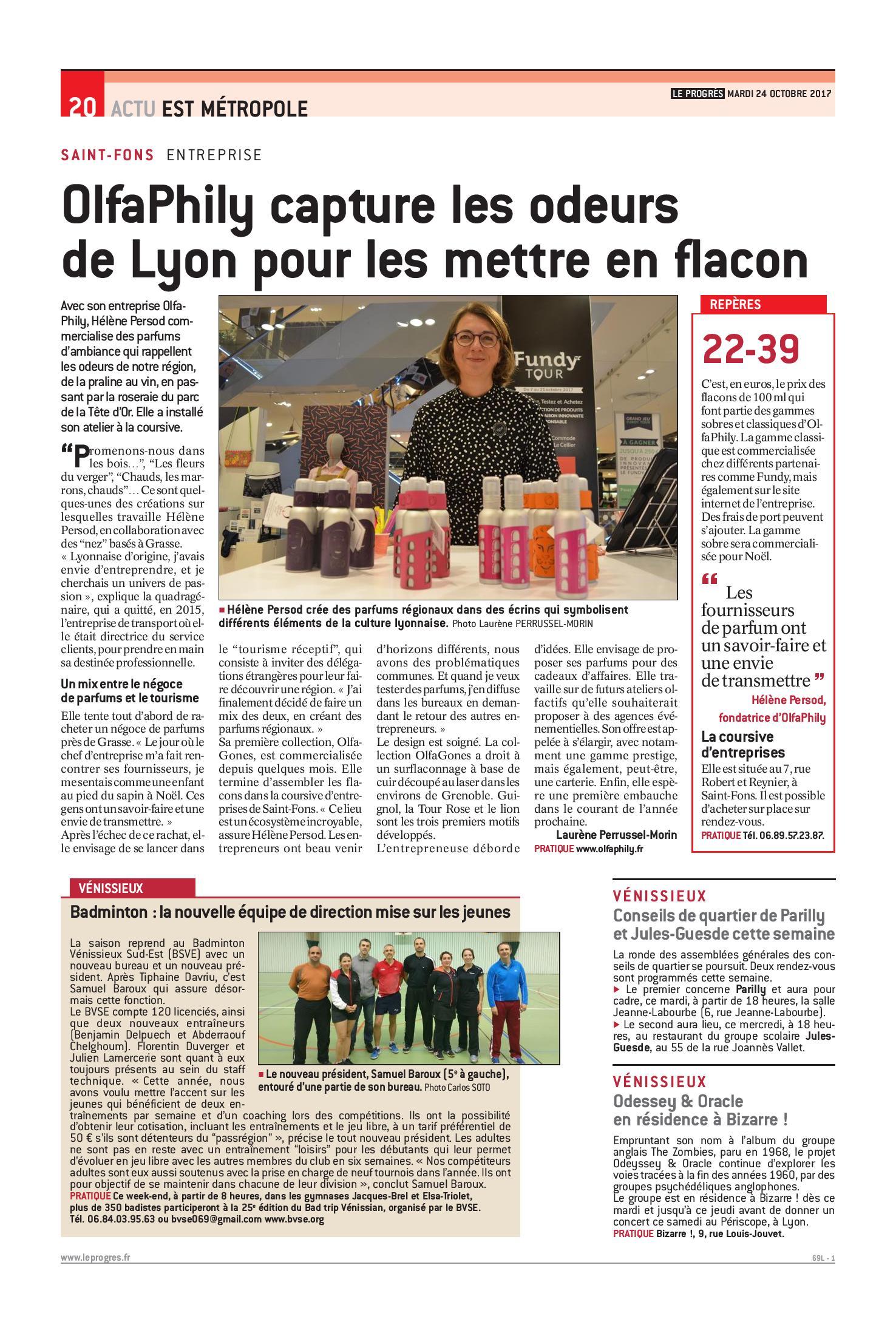 OlfaPhily Odeurs de Lyon en flacons