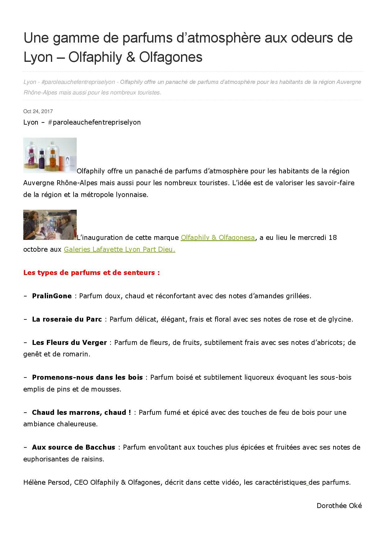 OlfaPhily parfums d'atmosphère odeurs de Lyon